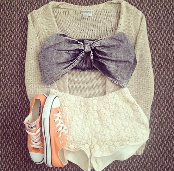 blouse gray bow top bralette shorts shoes shirt