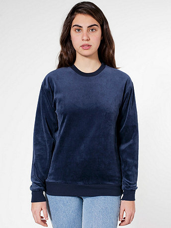 Unisex Velour Drop-Shoulder Sweater | American Apparel