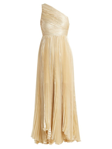 gown pleated silk cream dress