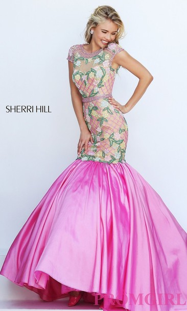dress prom dress sherri hill floral long dress evening dress