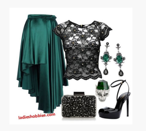 high heels clothes bag black heels skirt high low skirt uneven skirt jade skirt silky skirt top shirt blouse lac blouse short sleeves black lace clutch peep toe heels sling back heels ring earrings emerald earrings outfit