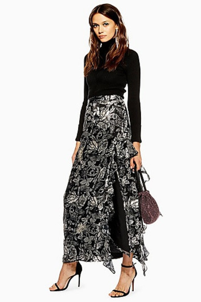 TopShop Feather Embellished Maxi Skirt - Silver