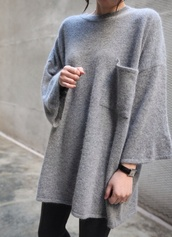 pocket sweater,oversized sweater,oversized,shirt,tumblr shirt,tumblr outfit,tumblr sweater,kawaii,grey sweater,dress,black prom dress,knitted dress,sweater dress,sweater,grey,top,clothes,comfy,fluffy