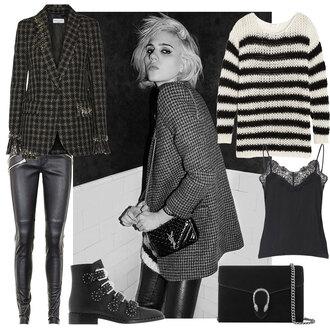 look de pernille blogger jacket bag top sweater shoes