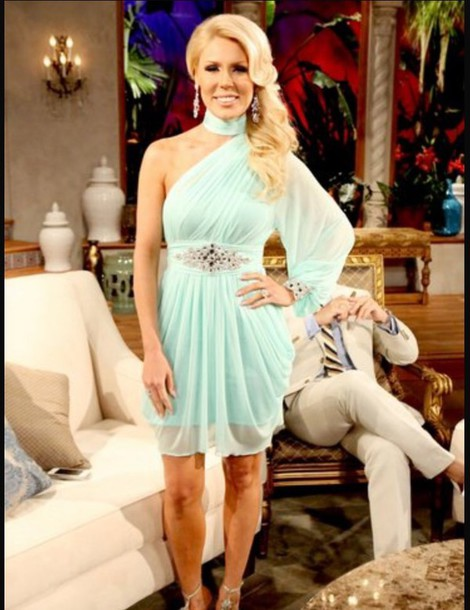 dress grechen real housewives of orange counnty light teal dress season finale blonde hair skinny girls flowy dress classy dress prom dress chandelier earrings dress