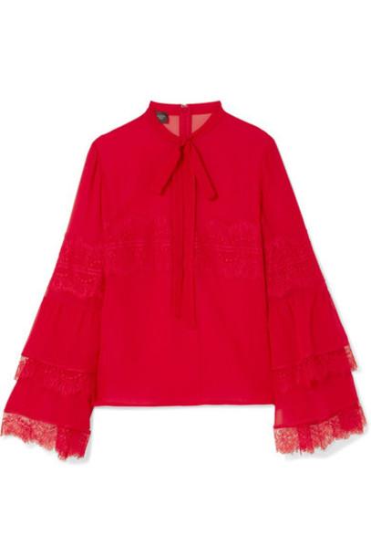 blouse chiffon blouse bow chiffon lace silk red top