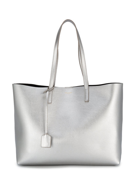 Saint Laurent - Silver Leather shopper tote Bag - women - Leather - One Size, Grey, Leather in metallic