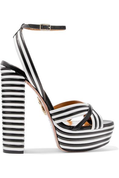 Aquazzura - Sundance striped leather platform sandals