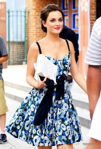 dress gossip girl blue summer dress floral dress floral cute leighton meester blair waldorf