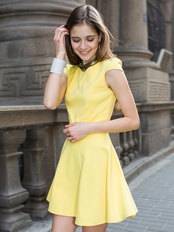 dress yellow dress midi skirt yellow skater dress
