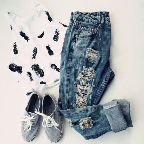 black and white top pineapple ananas jeans
