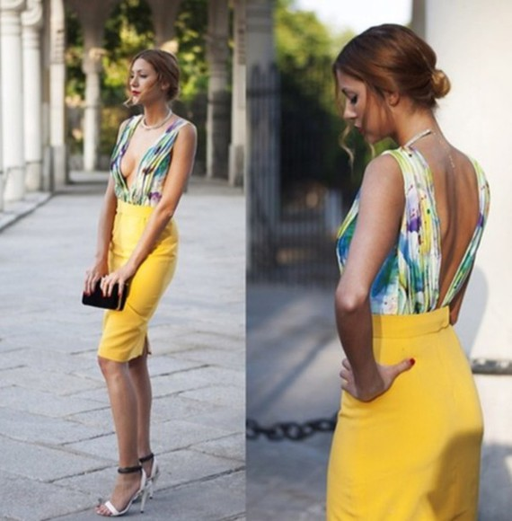 top deep v neck bodysuit floral backless backless top plunging back deep v back plunging neck line yellow