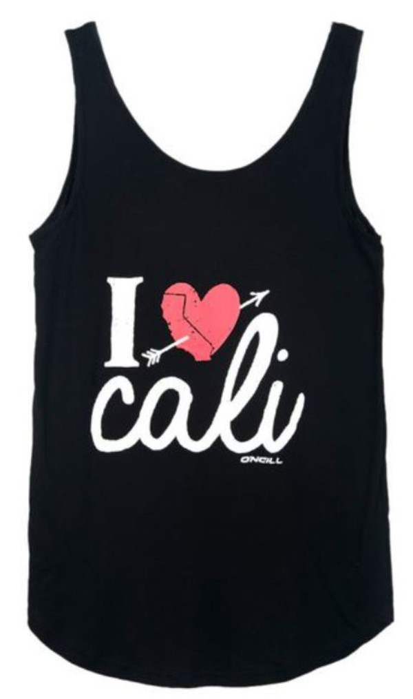 black tank top sleeveless top loose fit top heart cali www.ustrendy.com