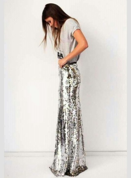 party skirt sexy maxi skirt sequin skirt silver glitter silver sparkles long skirt fancy