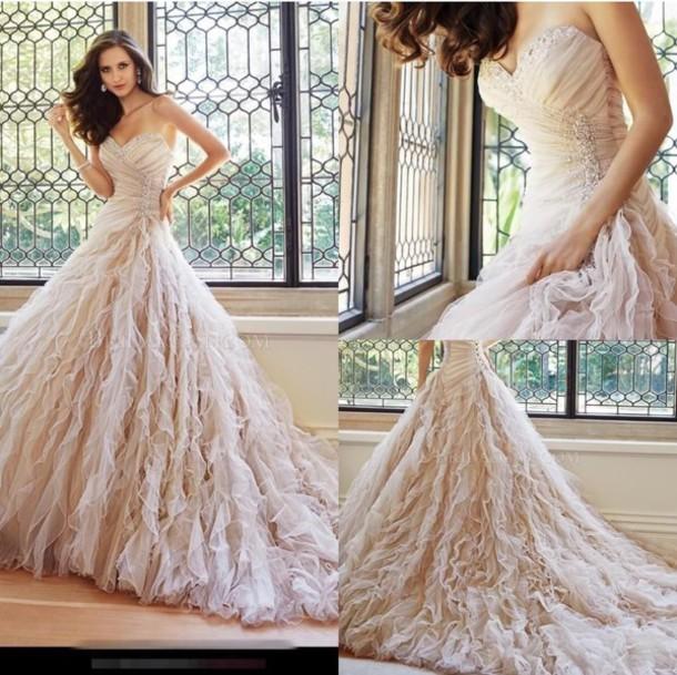 dress blush wedding dress ruffle wedding dress