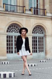 fashion gamble,blogger,suede jacket,black jacket,black hat,white dress