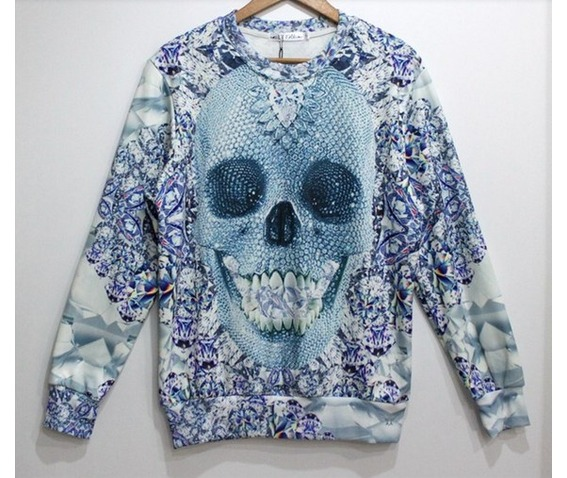 Light blue skull geometric pattern hoodie