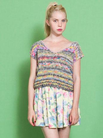 Vintage colorful knit short