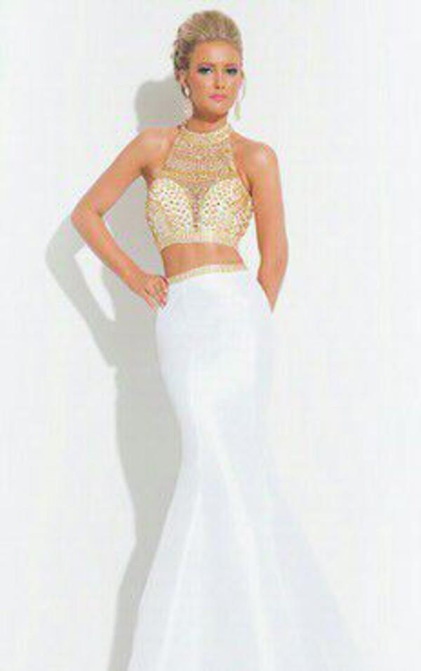 dress prom dress godess white dress white and gold dress white and gold gold dress gold two-piece white maxi 2 piece white two piece dress set