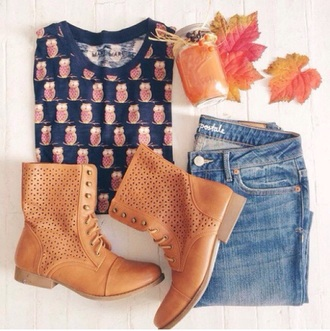 fall sweater fall outfits sweater jeans combat boots denim t-shirt owl cute hipster shoes shirt