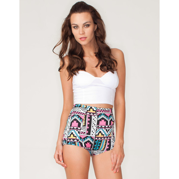 Motel Hilly High Waist Hot Pant in Aztec Pastel Print - Polyvore