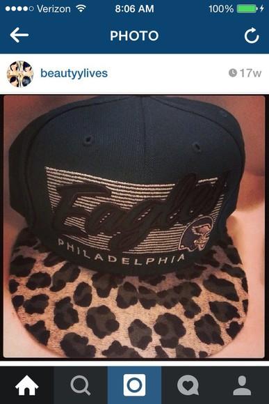 cap hat leopard print eagles