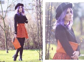like a riot blogger hat skirt orange skirt skater skirt black sweater