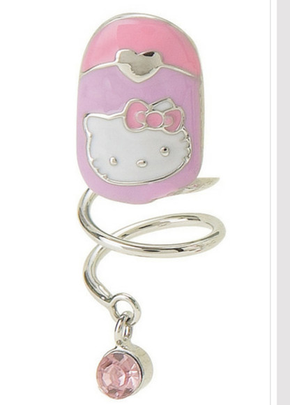nail pink jewels ring hello kitty