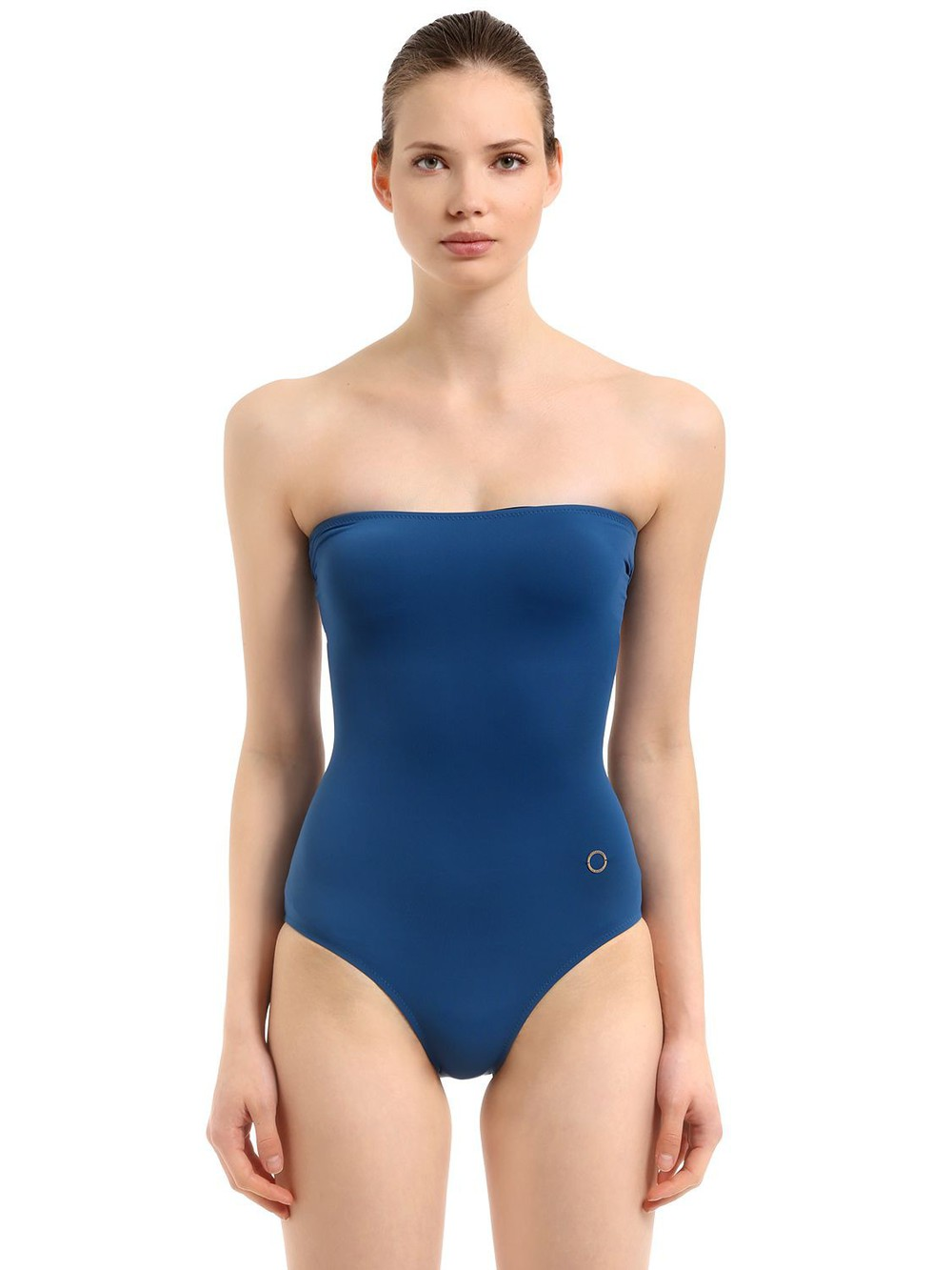 ALESSANDRO DI MARCO Strapless One Piece Swimsuit in blue
