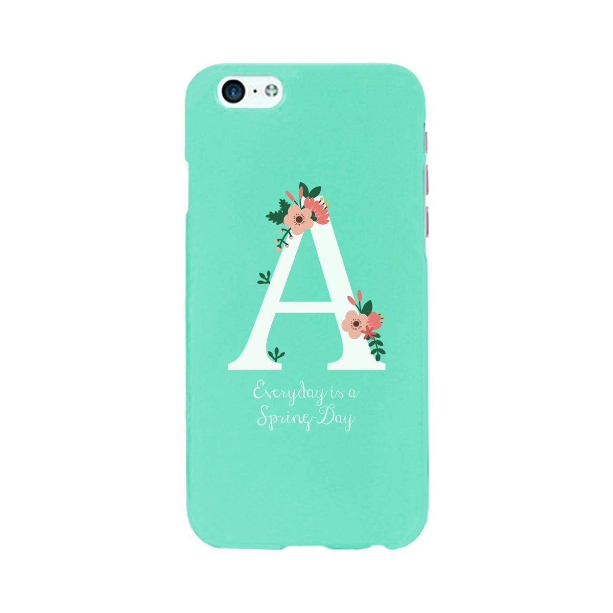 Amazon Com Personalized Initial Print Floral Mint Phone