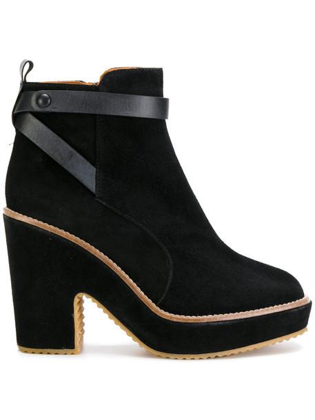 CASTAÑER women leather suede black shoes