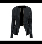 jacket,black peplum jacket leather,black,peplum,leather jacket,leather,want it in pounds,zip