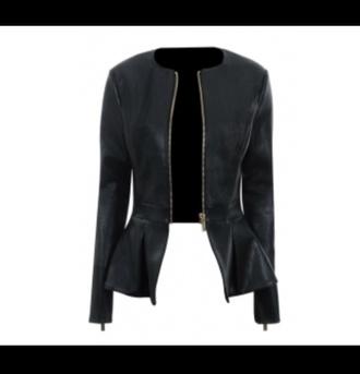 jacket black peplum jacket leather black peplum leather jacket leather want it in pounds zip