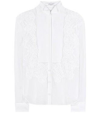 shirt lace silk white top