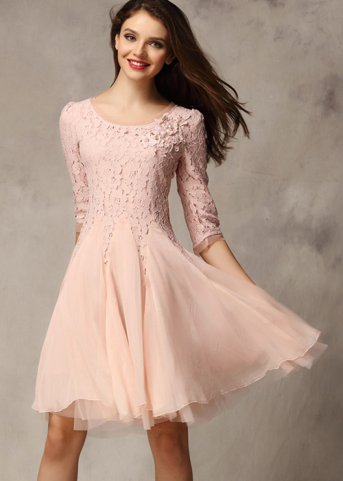 Pink Half Sleeve Lace Bead Chiffon Dress - Sheinside.com