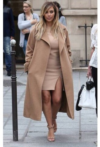 coat camel kardashians kim kardashian camel coat all nude everything