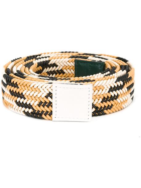 Sofie D'hoore striped belt, Women's, Yellow/Orange, Cotton/Leather