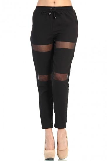 OMG Organza Contrast Pants - Black