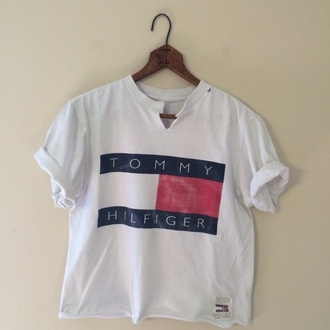 tommy hilfiger crop top tommy hilfiger t-shirt white shirt red blue fashion style chic v neck white t-shirt