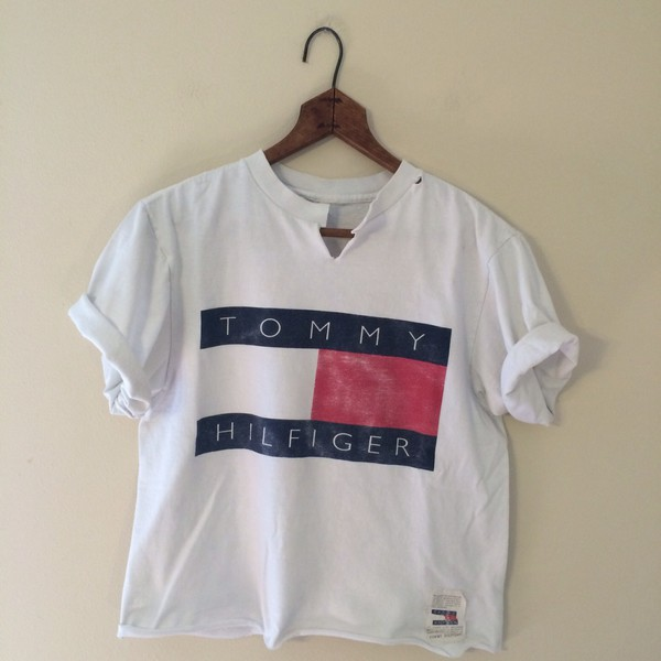 88a7ae5a tommy hilfiger crop top tommy hilfiger t-shirt white shirt red blue fashion  style chic.
