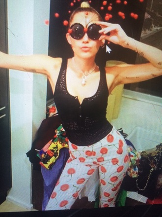 pants miley cyrus tumblr cherry style celebrity printed pants fruits