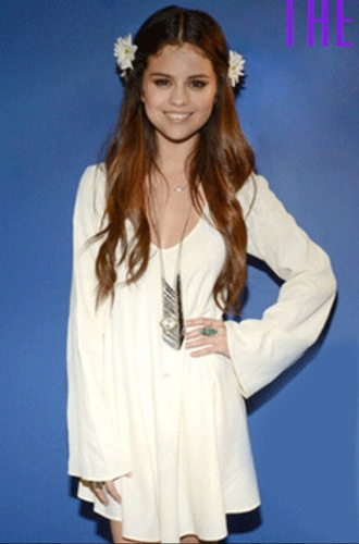 dress white selena gomez flowy flowers blouson cream boho
