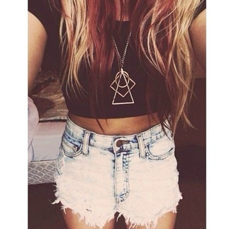 jewels triangle dope hipster circle gold chain geometric shorts shirt necklace