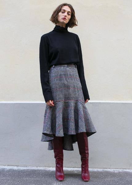 Black Houndstooth Plaid Peplum Skirt
