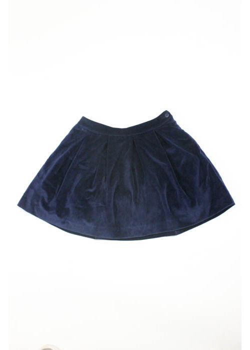 NWT PATACHOU Girls' Navy Blue Cotton Velvet Pleated A-Line Skirt Sz 8A $68