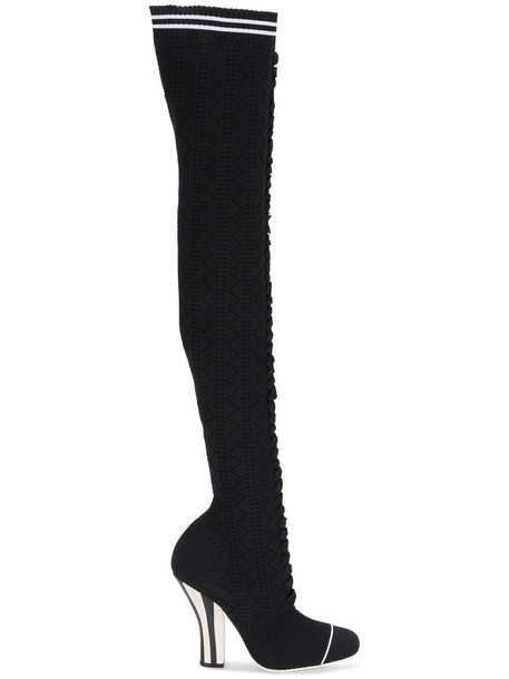 women spandex over the knee leather black knit shoes