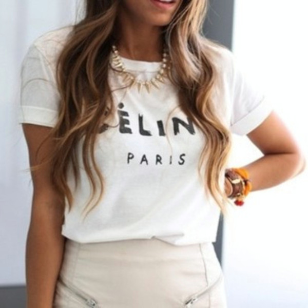 t-shirt celine celine celine tee trendy celine paris tshirt celebrity style steal jeans