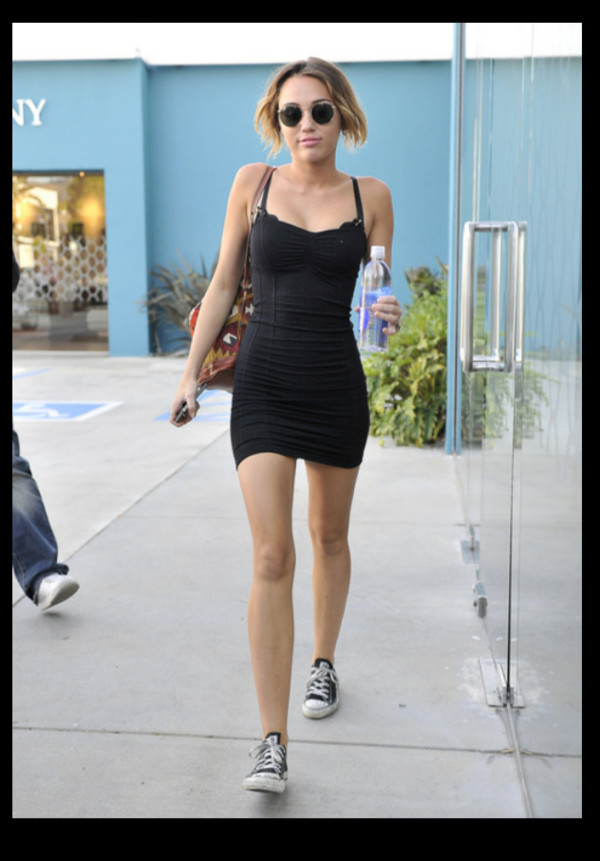 dress black mini miley cyrus