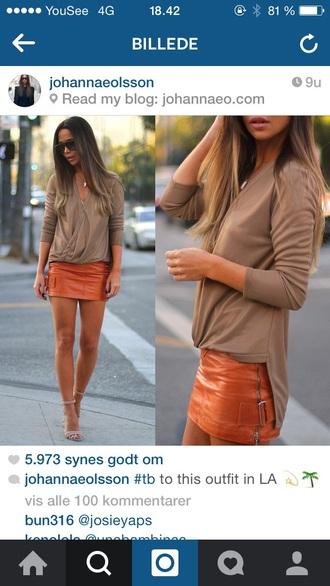 skirt orange mini skirt