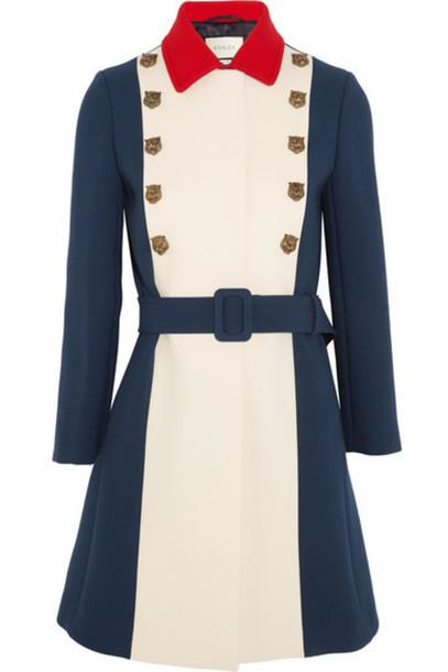 gucci coat wool coat embellished blue wool royal blue